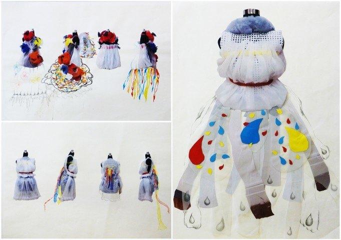 Development 11. Poppies and Clouds - Design Development - Draping on Mannequin - 2 x 58.5cmx40.5cm, 42cmx58.5cm