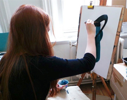 10 Week Summer Portfolio Course - Student Painting in Studio - Painting Class
